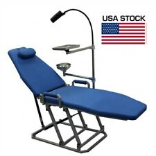 Dental Patient Chair Folding Chair With Led Operation Light Cuspidor Tray Blue Us