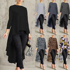 ZANZEA Women Long Sleeve Asymmetrical Waterfall Shirt Tops High Low Plus Blouse