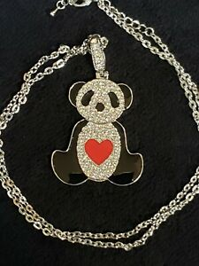 Black Enamel and Rhinestone Panda Bear With Red Enamel Heart Necklace