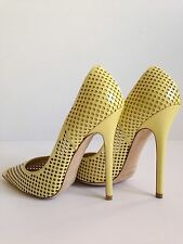 $825 Jimmy Choo Perforated Anouk Patent Leather Point Toe Pumps Size 6.5US/37EUR