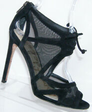 9aa13ca76c70f Sam Edelman Pompei black peep toe suede mesh lace up sandal heels 6M