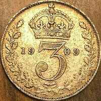 1909 GREAT BRITAIN EDWARD VII SILVER THREEPENCE COIN KM# 797.2