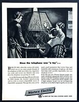 1881 Bell Telephone Switchboard & Operators art 1950 Western Electric print ad