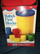 Vintage 1980 Fisher Price Baby's First Blocks Shape Sorter 12 Blocks #414 w/ Box