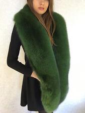 Extra Big Fox Fur Stole 78' (200cm) Finland Saga Furs Green Long Collar