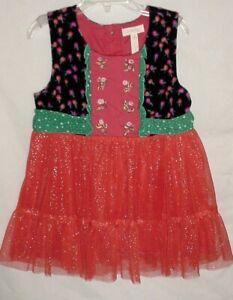 EUC Matilda Jane Girls Make Believe Sparkle Red Tulle Caroling Away Top Size 8