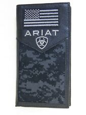 Ariat Mens Western Rodeo Wallet Black Leather Digital Camo USA Flag