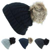 Cable Knit Hat Bobble Pom Beanie Rib Fur Big New Black Grey Navy Ski Winter