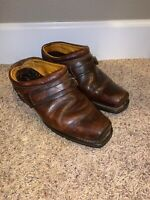 FRYE Brown Leather Belted Harness Clog Boots Slip On Mules 70760 Women's 8 M