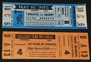 1970-1980 REBELLES DE LONGUEUIL - SIEURS DE LONGUEUIL - HOCKEY TEAM TICKETS (2)