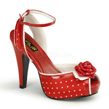 Pinup Couture Retro HEELS Polka Dot PEEP Toe Ankle Strap Sandal Bettie-06 Red 7