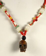 Rare Tibetan LlAma (Lama Glama) Kapala Bone Human Skull Bead Silk Jade Cord