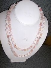 LONG FASHION PINK JADE 40 INCH NECKLACE -ESTATE SALE- CLEARANCE CLOSEOUT SALE