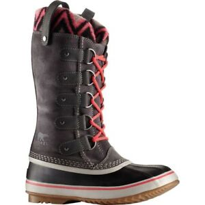 SOREL Joan of Arctic KNIT II SHALE GREY Pink SUEDE WINTER BOOTS 7 7.5 8 8.5 9 10