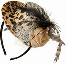 Ladies Tiger Print Feather Veil 1980s 80's Mini Hat Fancy Dress Costume Outfit