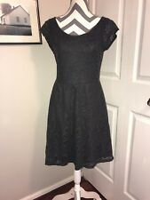 Anthropologie Deletta Grey Cap sleeve Floral Lace Dress Medium M - Lined
