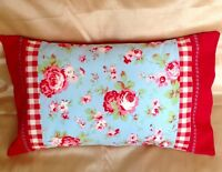 Laura Ashley gingham red Cath Kidston Rosali bolster cushion covers 18  20  BN