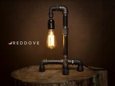 Hand made Black Industrial E27 Iron Pipe table or desk Lamp + Free UK shipping