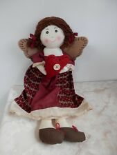 "Primitive Red Heart Angel Cloth Plaid Outfit Pellet Rag Doll 20"" Gift"