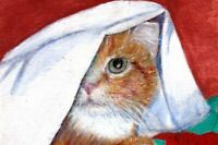 BCB Orange Tabby Cat Hiding in Sheets Print of Painting ACEO 2 1/2 x 3 1/2 inch
