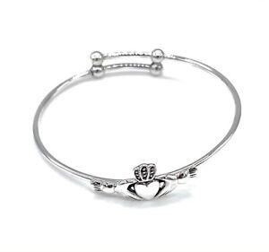 Claddagh Heart Expander Adjustable Bangle Bracelet 925 Sterling Silver