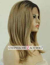 Short Bob Ombre Synthetic Hair Lace Front Wigs Blonde Straight Heat Friendly UK