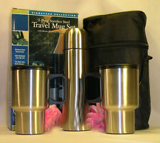 New 4 Piece Silver Travel Mug Set Coffee Tea 2 Cups 1Thermos Warm or Cold Drinks