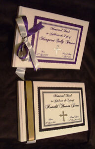 Personalised Remembrance Condolence Memorial Book Black Purple OR Your Colours