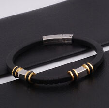 "Unisex Men Women's Stainless Steel Rubber Silicone Bracelet black 8"" G20"