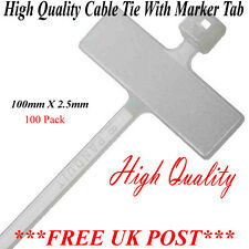 "CABLE TIE MARKER I.D TIE 100MM (4"") X 2.5MM LABEL ZIP CABLES TIES QTY 100"