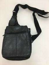 "DB Designs Small Shoulder Sling Purse Black Leather 9"" X 7.5"" Adjustable Strap"