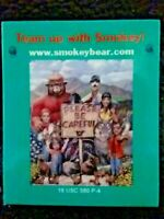 "Smokey The Bear Magnet Collectible Forest Team Up Animal Creatures Vintage 2""x2"""