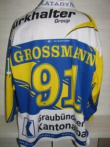 #91 ROBIN GROSSMANN HC DAVOS JERSEY HOMME SHIRT SIGNED SIZE XL