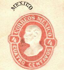 MEXICO Error MISPLACED OVERPRINT Embossed 4c Hidalgo Stationery Piece YELLOW107