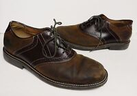 Bass Men's Signature Oxford Saddle Shoe Leather Suede Brown Men's Size 10.5 M