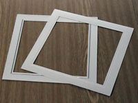 """3 sq 8""""x8"""" flip over white/silver overlays/mats for Spicers or G F Smiths albums"""