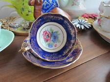 Golden Lace Anemones Tea Cup Saucer Set Cobalt Blue Bone China England Floral