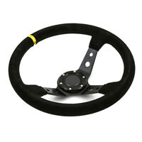 Universal 350mm Deep Dished Steering Wheel Suede fits SPARCO OMP BOSS HUB