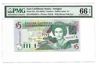 EAST CARIBBEAN STATES $5, PMG GEM UNCIRCULATED 66 EPQ BANKNOTE, 2003 Pick 42a