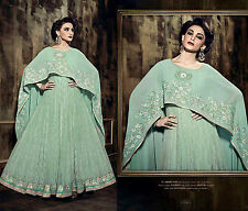 PALE MINT BRASSO NET ANARKALI SALWAR KAMEEZ SUIT PARTY DRESS MATERIAL LADIES DEN