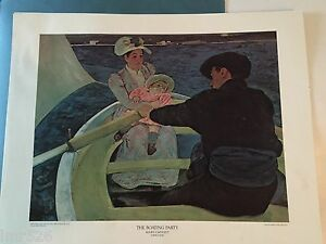 """The Boating Party by Mary Cassatt Lithograph Print 20"""" x 16"""" ~ Vintage 1950-69"""
