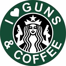 I Love Guns & Coffee 2A 2nd Amendment Tool Box Bumper Sticker Vinyl Decal