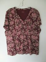 St. John's Bay Women's Size XL 100% Cotton Short Sleeve Purple Floral Blouse