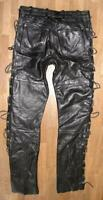 """ BLUES BROS. "" Schnür- LEDERJEANS / Biker- Lederhose in schwarz in W30"" /L33"""