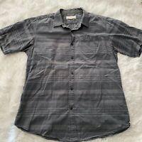 Ezekiel Mens Size Large Gray Stripped Short Sleeve Button Down Shirt EUC