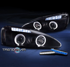 2004-2008 PONTIAC GRAND PRIX HALO LED PROJECTOR HEADLIGHT LAMP BLACK W/BLUE DRL