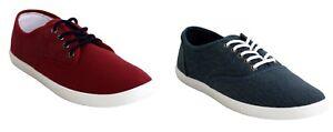 Mens Lace up Plimsolls Pumps Quality Canvas Casual Comfort Boys Trainers Shoes