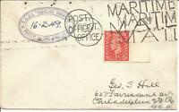 Maritime Mail Cover Posted On Board RMMV Highland Monarch 16 February 1949 U620