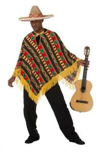 Poncho Mexikaner Mexiko Sambrero Umhang Cape Überwurf Kostüm Mexikanerin Cowboy