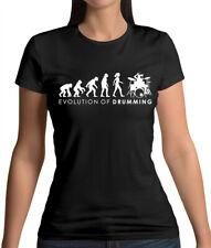 Evolution of Woman Drumming - Womens T-Shirt - Drummer - Music - Band - Musician